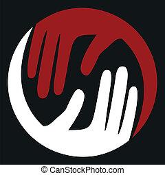 soucier, mains, design.