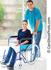 soucier, mari, et, handicapé, épouse