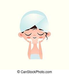 soucier, mignon, peu, fermé, elle, procedure., après, masque, jeune, figure, eau, peau, restes, girl, lave, problème