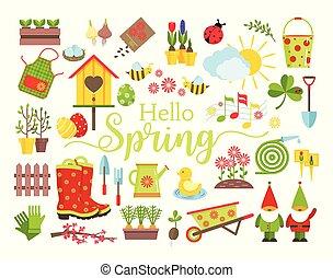soucier, plat, style, éléments, jardinage, jardin, icônes, printemps, set., isolé, décoration, arrière-plan., vecteur, croissant, blanc, outils, dessin animé, planter, illustration.