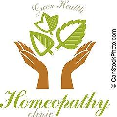 soucier, printemps, monde médical, leaves., rééducation, vert, tenant mains, logo., résumé