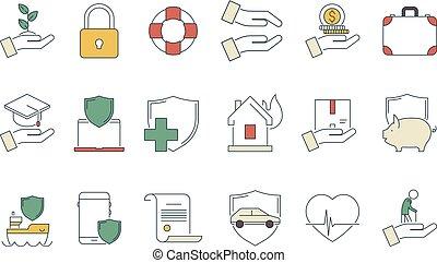 soucier, protéger, linéaire, business, protection, argent, vie, symboles, vecteur, sécurité, médecine, santé, icon., assurance, liabilities