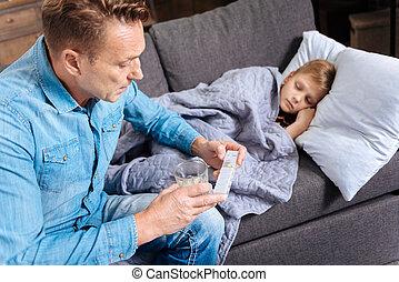 soucier, sien, donner, père, fils, malade, pilules