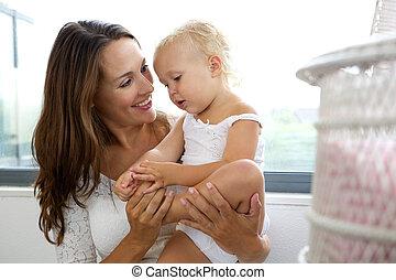 soucier, sourire, fille, elle, mère