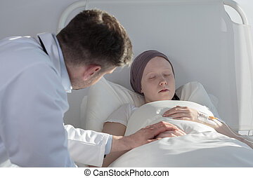 soucier, sur, femme, cancer, docteur