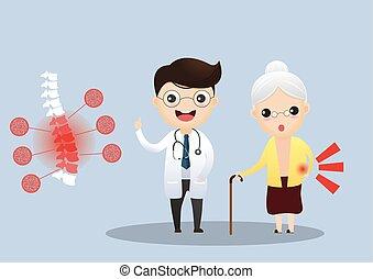 soucier, sur, femme, patient, illustration., elle, docteur, personnes agées, symptoms., conversation, vecteur, vieux, osteoporosis., elderly.
