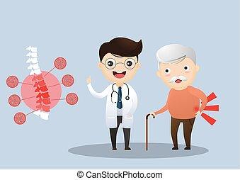 soucier, sur, patient, illustration., elle, docteur, personnes agées, symptoms., conversation, vecteur, vieux, osteoporosis., elderly., homme