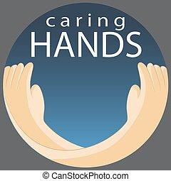soucier, symbole, mains