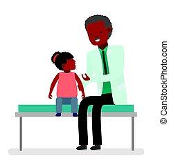 soucier, vaccination, docteur., visite, santé, child.