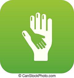 soucier, vecteur, vert, main, icône