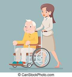soucier, vieux, asseoir, fauteuil roulant, caractère, illustration, vecteur, conception, homme âgé, infirmière, serviteur, icône, dessin animé, adulte