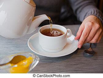 soucoupe, tasse thé, citron, blanc, café