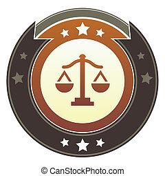 soudce, váhy, císařský, knoflík