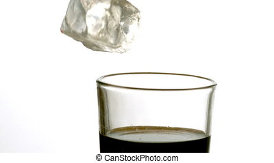 soude, glace, tomber, verre, cube