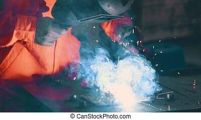 soudeur arc, fonctionnement métal, soudure, machine