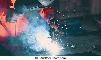 soudeur, arc, machine, fonctionnement métal, soudure
