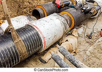 soudeur, est, fonctionnement, sous, a, grand, pipeline