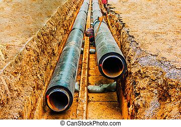 soudure, homme, trench., souterrain, circulaire, fixe, être, tuyau