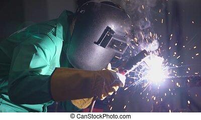 soudure, machine, métal, soudeur, fonctionnement, arc