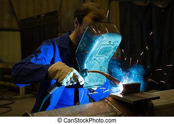 soudure, welds, ouvrier, acier, casque