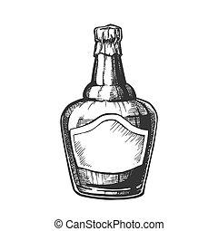 soufflé, casquette, fleuret, vecteur, bouteille, whisky écossais