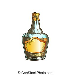 soufflé, couleur, casquette, fleuret, vecteur, bouteille, whisky écossais