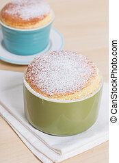Soufflé - closeup delicious homemade vanilla souffle