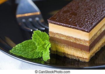 Souffl� cake - Closeup image of chocolate souffl� cake...