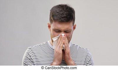 soufflant nez, tissu, homme, jeune, papier, malade