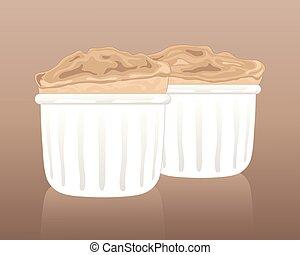 souffle - an illustration of two fluffy light vanilla...