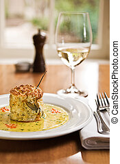 Souffle - A beautiful fish souffle served in a restaurant.