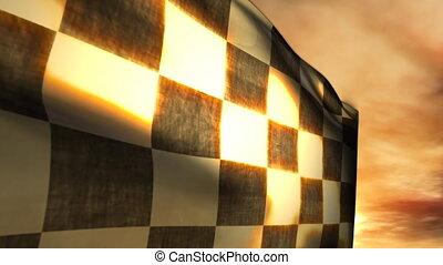 souffler, (1115), drapeau, checkered, coucher soleil, course, vent