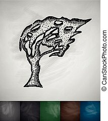 souffler, arbre, vent, icône