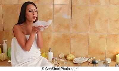 souffler, elle, prendre, mousse, bain, femme, bathroom.