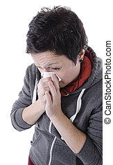souffler, femme, grippe, nez, elle