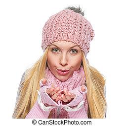 souffler, hiver, neige, mains, girl, vêtements