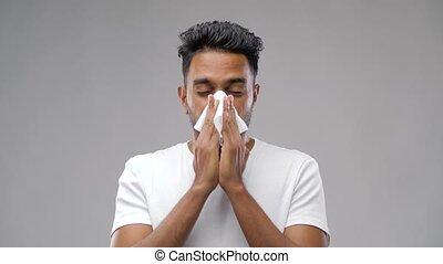 souffler, indien, serviette, papier, nez, homme