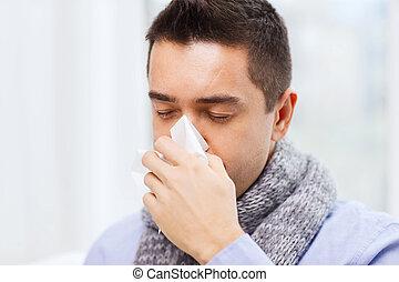 souffler, malade, grippe, haut, nez, fin, maison, homme