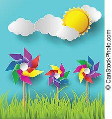 souffler, moulins, nuageux, days., illustration, vent