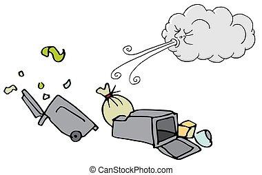 souffler, nuage, venteux, boîtes, déchets ménagers, jour, vent