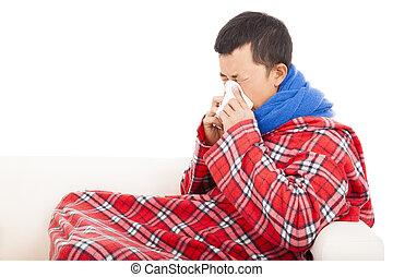 souffler, sofa, malade, tissu, nez, homme