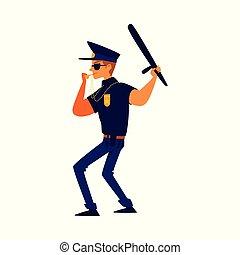 souffler, uniforme, dessin animé, bleu, siffler, policier