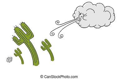 souffler, venteux, vent, cactus, jour, nuage