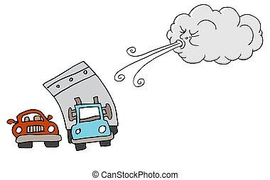 souffler, voitures, venteux, camion, nuage, jour, vent