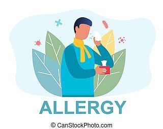 souffrance, dépeindre, homme, allergie, affiche, symptômes
