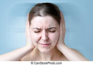 souffrance, femme, bruit