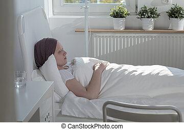 souffrance, femme, cancer