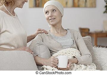 souffrance, femme, fidèle, cancer