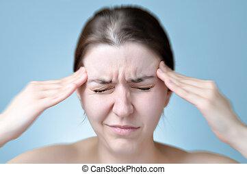 souffrance, femme, mal tête
