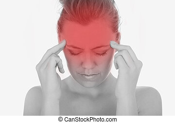 souffrance, femme, sévère, mal tête